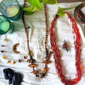 5-piece jewellery bundle, amber, wood, fabric